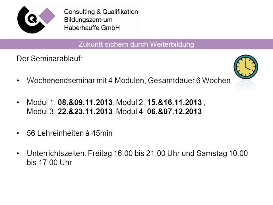 Zukunft sichern durch Weiterbildung Der Seminarablauf: Wochenendseminar mit 4 Modulen, Gesamtdauer 6 Wochen Modul 1: 08.&09.11.2013, Modul 2: 15.&16.1