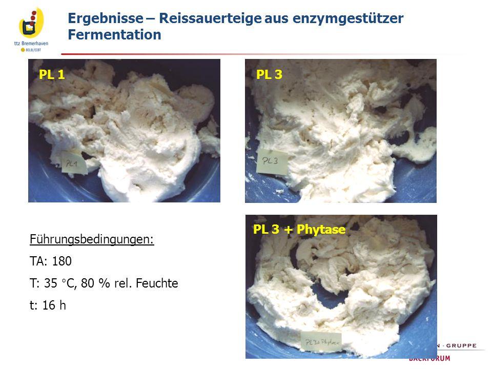 PL 1PL 3 PL 3 + Phytase Ergebnisse – Reissauerteige aus enzymgestützer Fermentation Führungsbedingungen: TA: 180 T: 35 °C, 80 % rel. Feuchte t: 16 h
