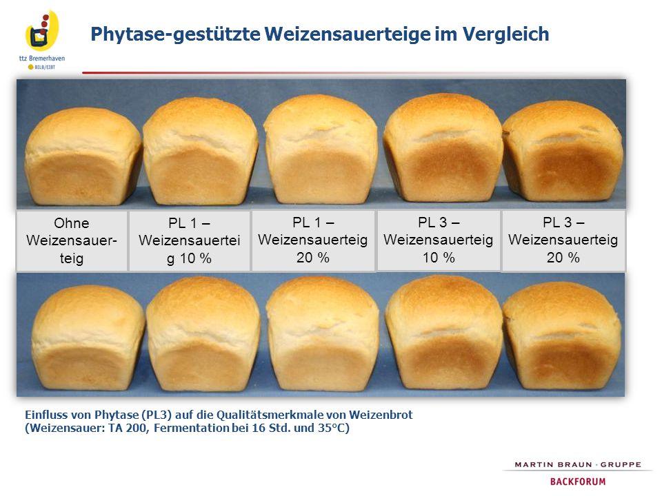 Ohne Weizensauer- teig PL 1 – Weizensauertei g 10 % PL 1 – Weizensauerteig 20 % PL 3 – Weizensauerteig 10 % PL 3 – Weizensauerteig 20 % Phytase-gestüt