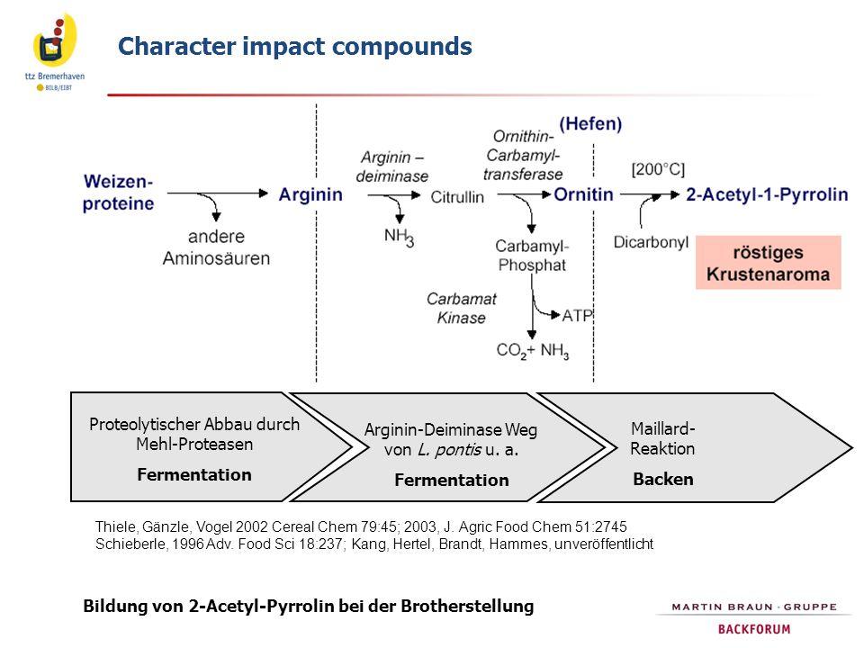 Bildung von 2-Acetyl-Pyrrolin bei der Brotherstellung Thiele, Gänzle, Vogel 2002 Cereal Chem 79:45; 2003, J. Agric Food Chem 51:2745 Schieberle, 1996
