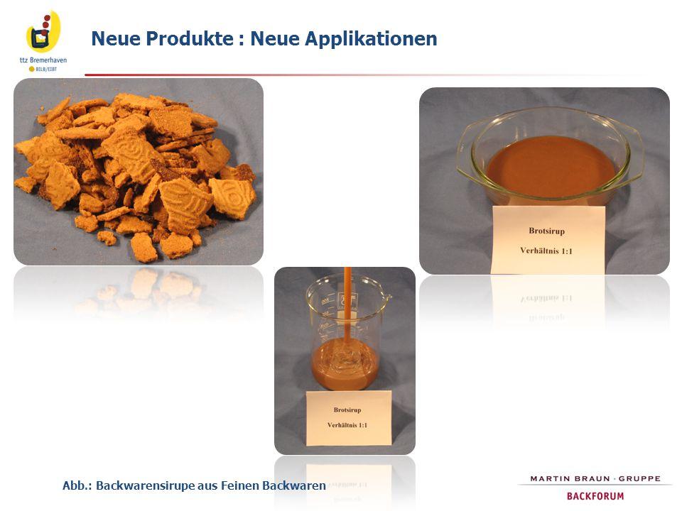 Neue Produkte : Neue Applikationen Abb.: Backwarensirupe aus Feinen Backwaren