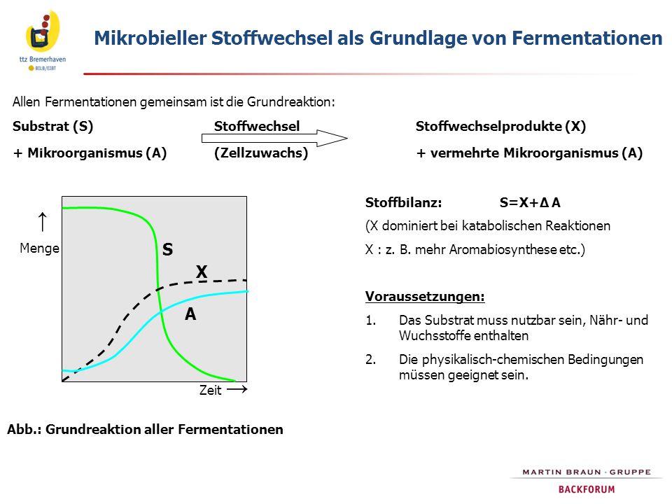 Abb.: Grundreaktion aller Fermentationen Mikrobieller Stoffwechsel als Grundlage von Fermentationen Allen Fermentationen gemeinsam ist die Grundreakti