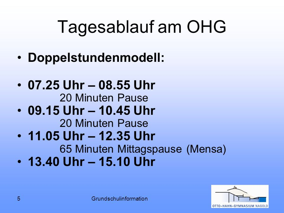 5Grundschulinformation Tagesablauf am OHG Doppelstundenmodell: 07.25 Uhr – 08.55 Uhr 20 Minuten Pause 09.15 Uhr – 10.45 Uhr 20 Minuten Pause 11.05 Uhr
