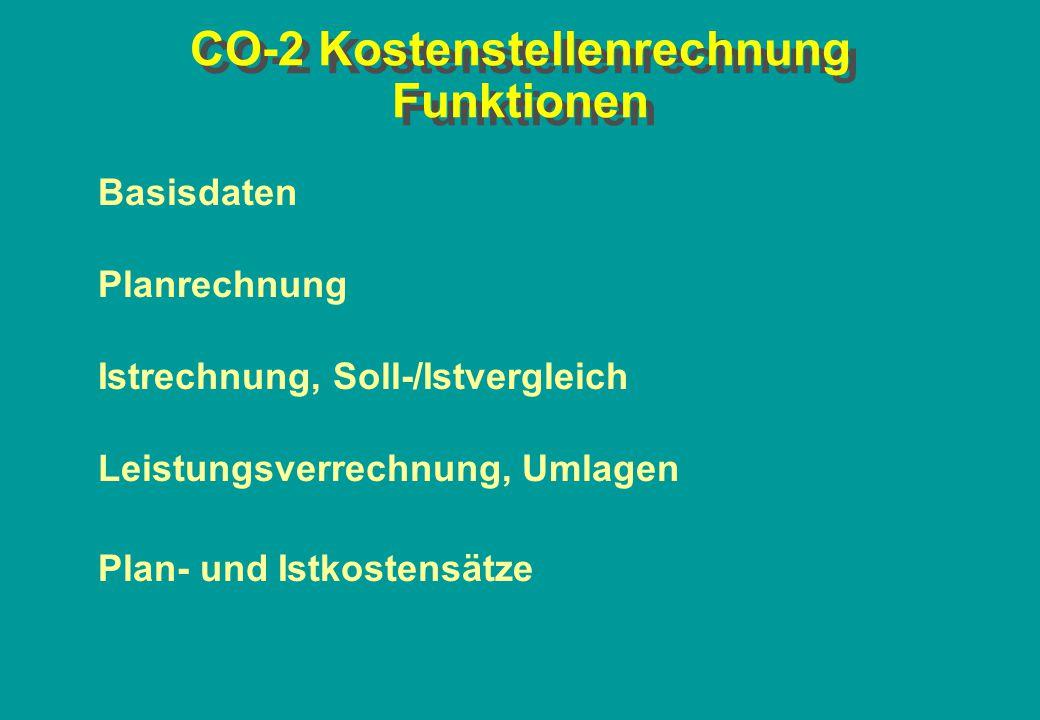 CO-2 Kostenstellenrechnung Funktionen Basisdaten Planrechnung Istrechnung, Soll-/Istvergleich Leistungsverrechnung, Umlagen Plan- und Istkostensätze