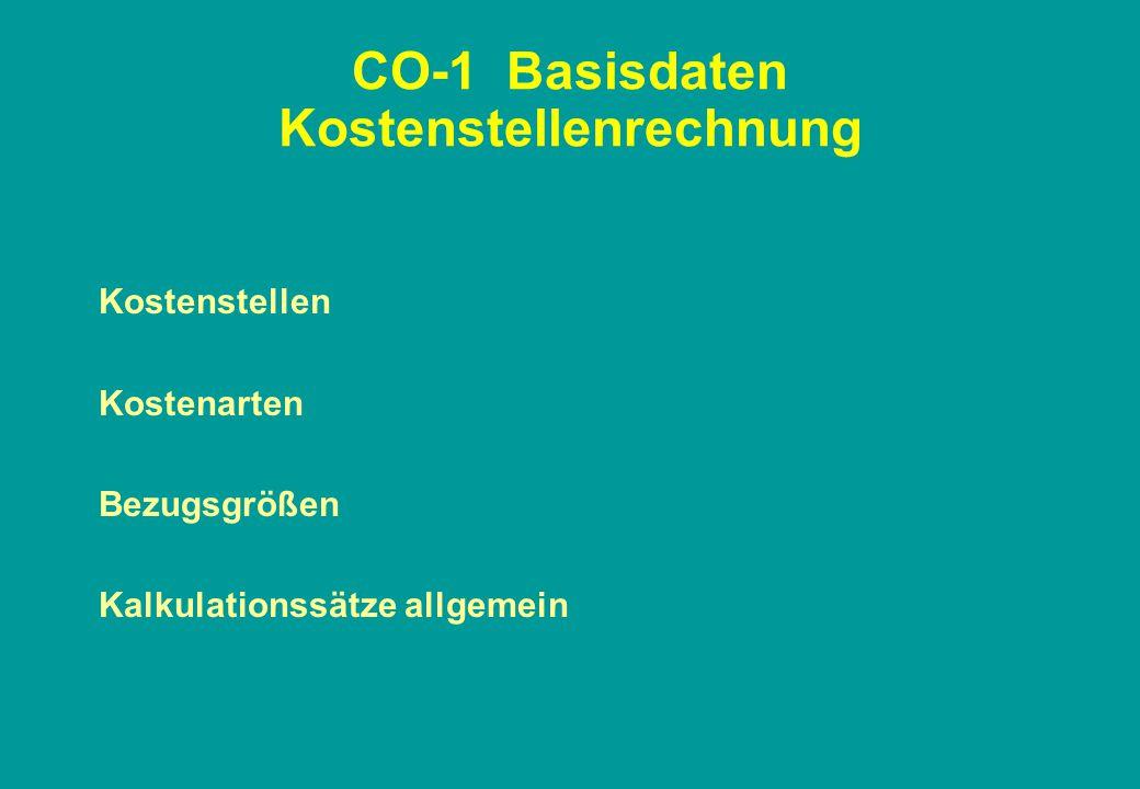 CO-1 Basisdaten Kostenstellenrechnung Kostenstellen Kostenarten Bezugsgrößen Kalkulationssätze allgemein