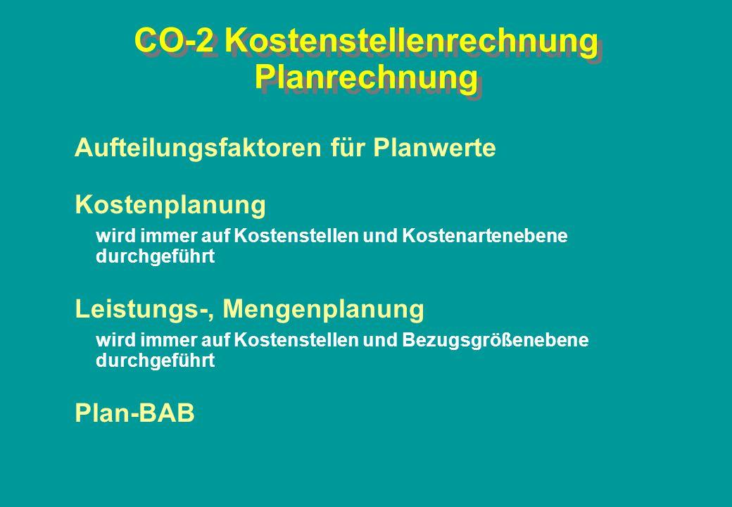 CO-2 Kostenstellenrechnung Planrechnung Aufteilungsfaktoren für Planwerte Kostenplanung wird immer auf Kostenstellen und Kostenartenebene durchgeführt