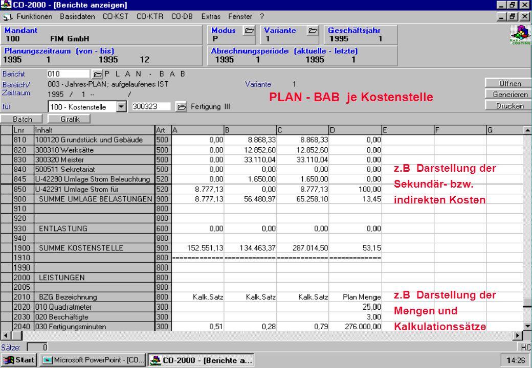 PLAN - BAB je Kostenstelle z.B Darstellung der Sekundär- bzw. indirekten Kosten z.B Darstellung der Mengen und Kalkulationssätze
