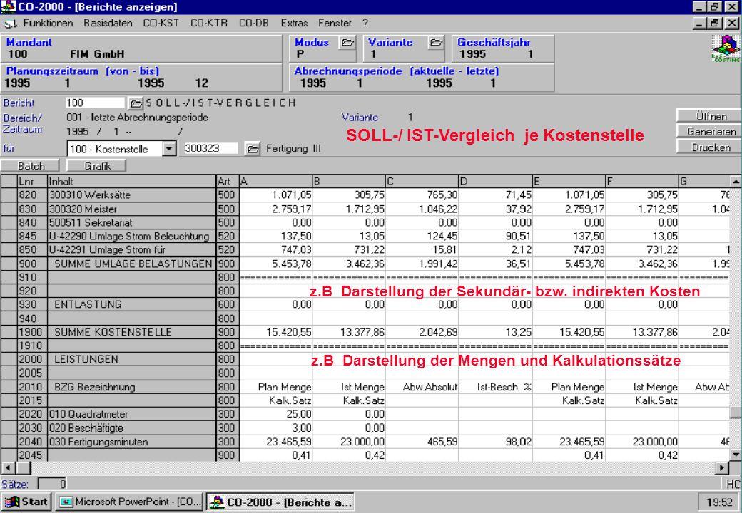 SOLL-/ IST-Vergleich je Kostenstelle z.B Darstellung der Sekundär- bzw. indirekten Kosten z.B Darstellung der Mengen und Kalkulationssätze