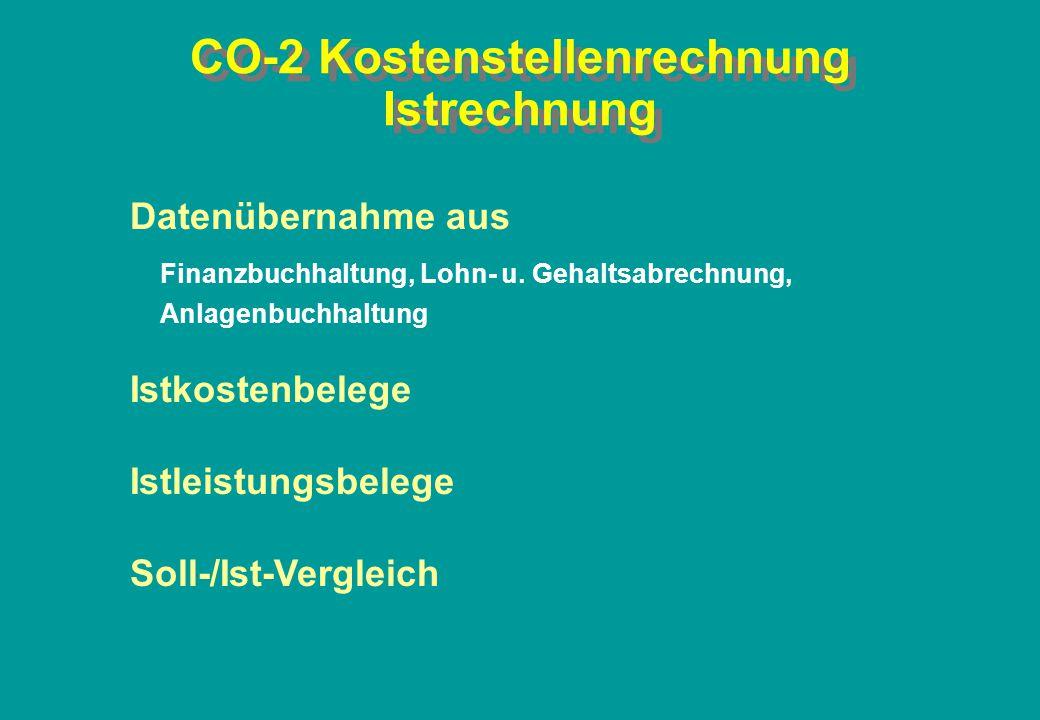 CO-2 Kostenstellenrechnung Istrechnung Datenübernahme aus Finanzbuchhaltung, Lohn- u. Gehaltsabrechnung, Anlagenbuchhaltung Istkostenbelege Istleistun