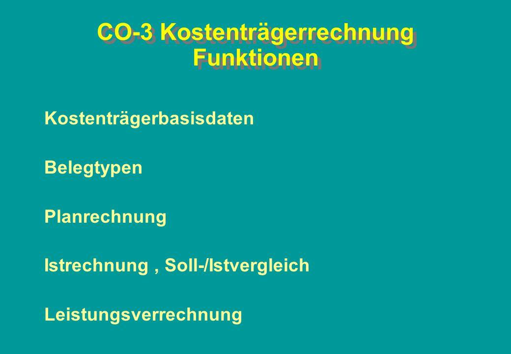 CO-3 Kostenträgerrechnung Funktionen Kostenträgerbasisdaten Belegtypen Planrechnung Istrechnung, Soll-/Istvergleich Leistungsverrechnung