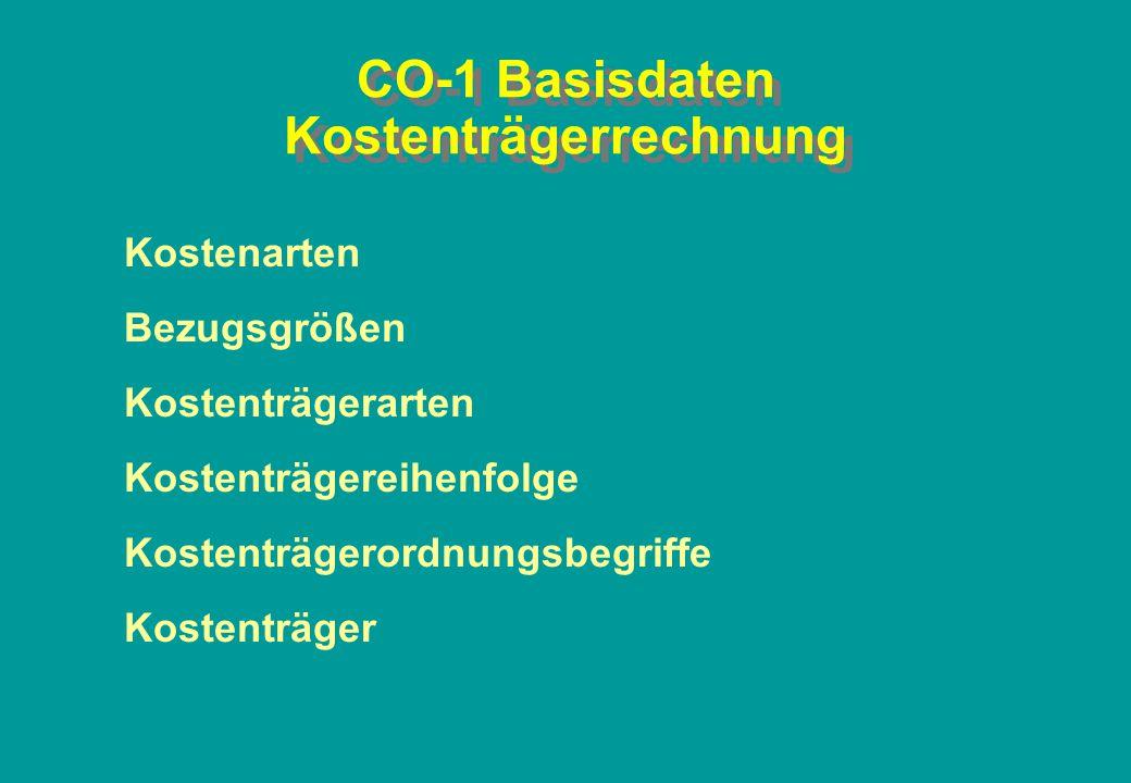 CO-1 Basisdaten Kostenträgerrechnung Kostenarten Bezugsgrößen Kostenträgerarten Kostenträgereihenfolge Kostenträgerordnungsbegriffe Kostenträger