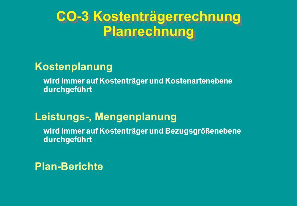 CO-3 Kostenträgerrechnung Planrechnung Kostenplanung wird immer auf Kostenträger und Kostenartenebene durchgeführt Leistungs-, Mengenplanung wird imme