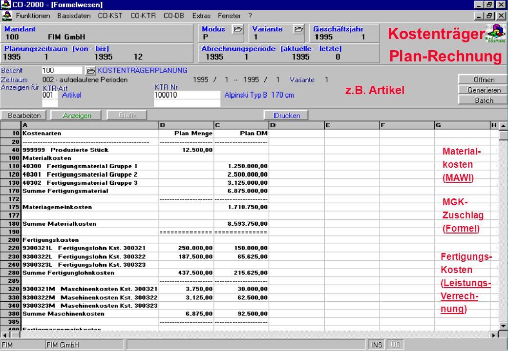 Kostenträger Plan-Rechnung z.B. Artikel Material- kosten (MAWI) MGK- Zuschlag (Formel) Fertigungs- Kosten (Leistungs- Verrech- nung)