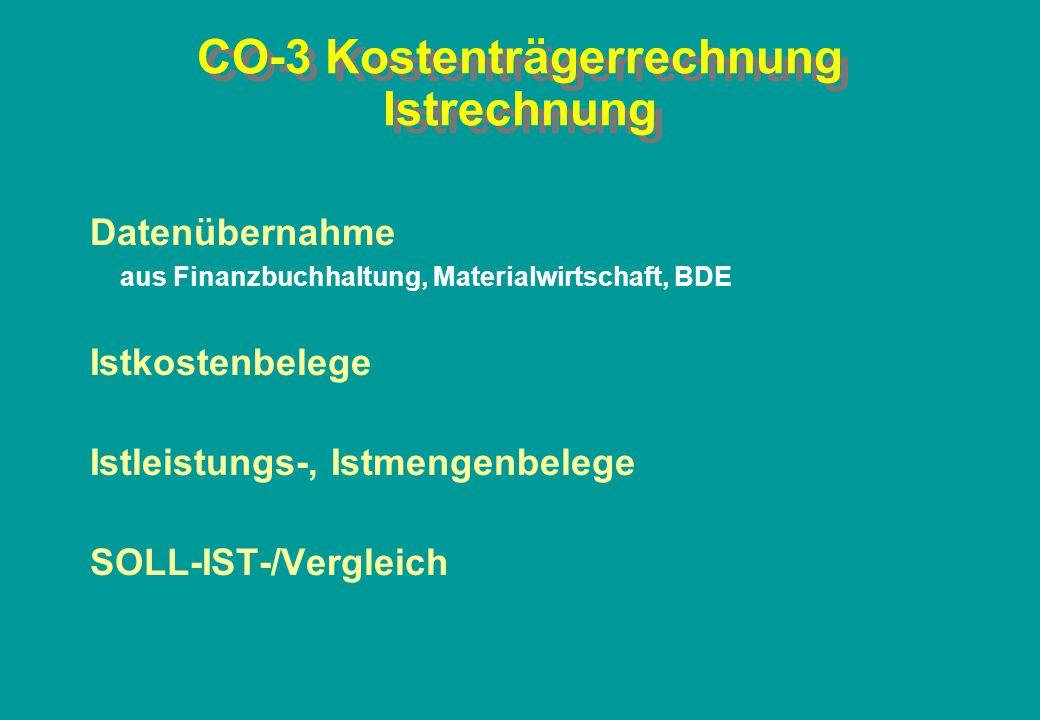 CO-3 Kostenträgerrechnung Istrechnung Datenübernahme aus Finanzbuchhaltung, Materialwirtschaft, BDE Istkostenbelege Istleistungs-, Istmengenbelege SOL