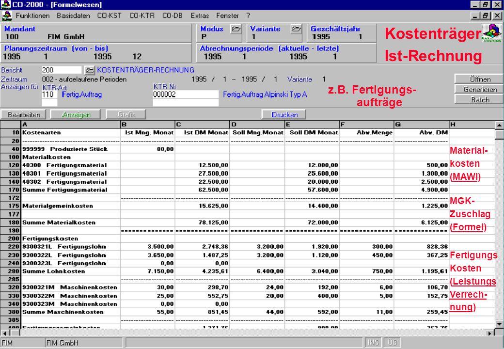 Kostenträger Ist-Rechnung z.B. Fertigungs- aufträge Material- kosten (MAWI) MGK- Zuschlag (Formel) Fertigungs Kosten (Leistungs Verrech- nung)