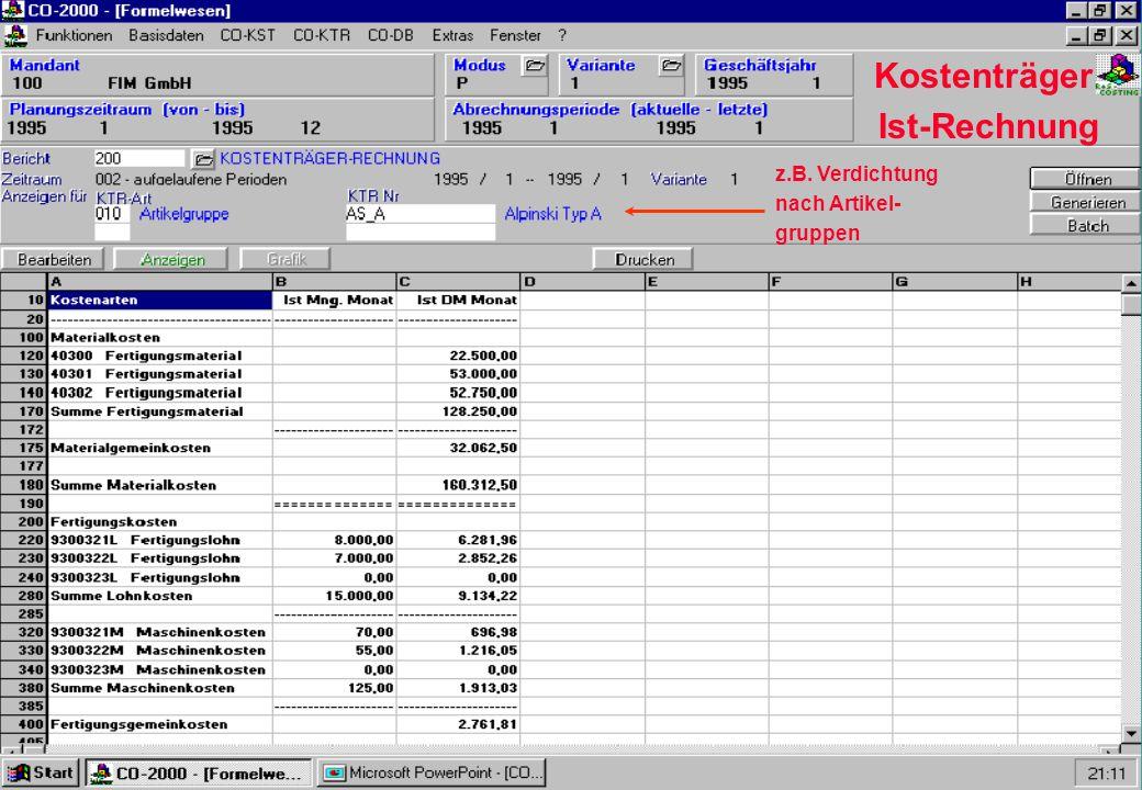 Kostenträger Ist-Rechnung z.B. Verdichtung nach Artikel- gruppen