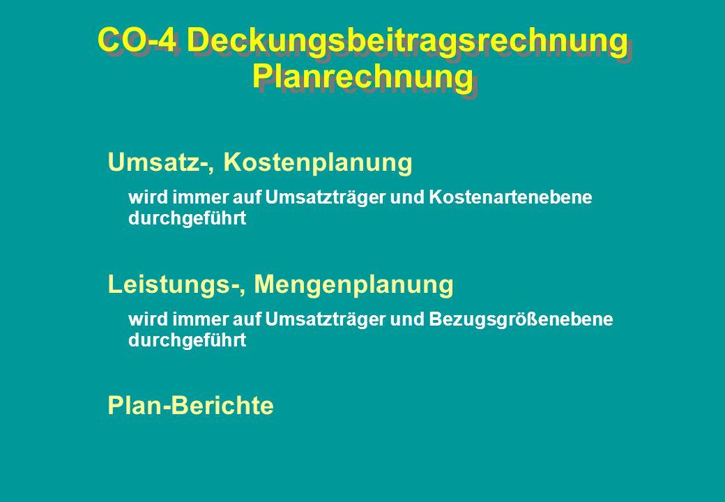 CO-4 Deckungsbeitragsrechnung Planrechnung Umsatz-, Kostenplanung wird immer auf Umsatzträger und Kostenartenebene durchgeführt Leistungs-, Mengenplan