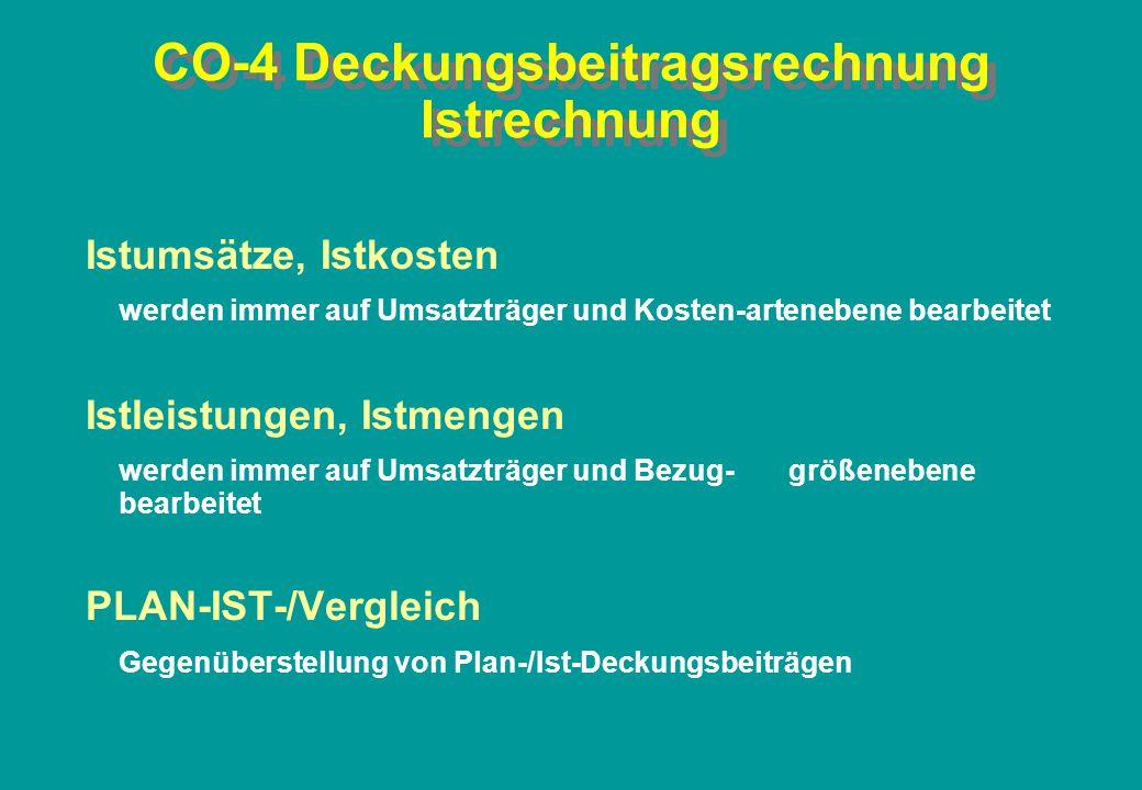 CO-4 Deckungsbeitragsrechnung Istrechnung Istumsätze, Istkosten werden immer auf Umsatzträger und Kosten-artenebene bearbeitet Istleistungen, Istmenge