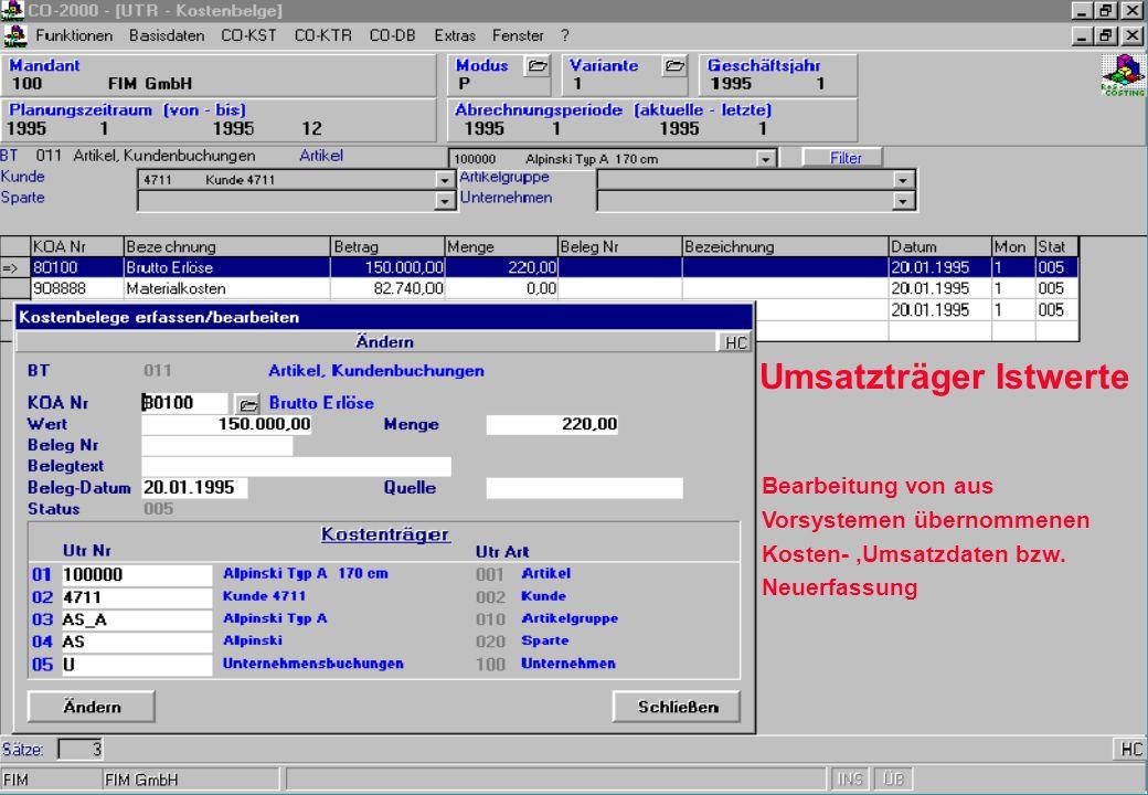 Umsatzträger Istwerte Bearbeitung von aus Vorsystemen übernommenen Kosten-,Umsatzdaten bzw. Neuerfassung