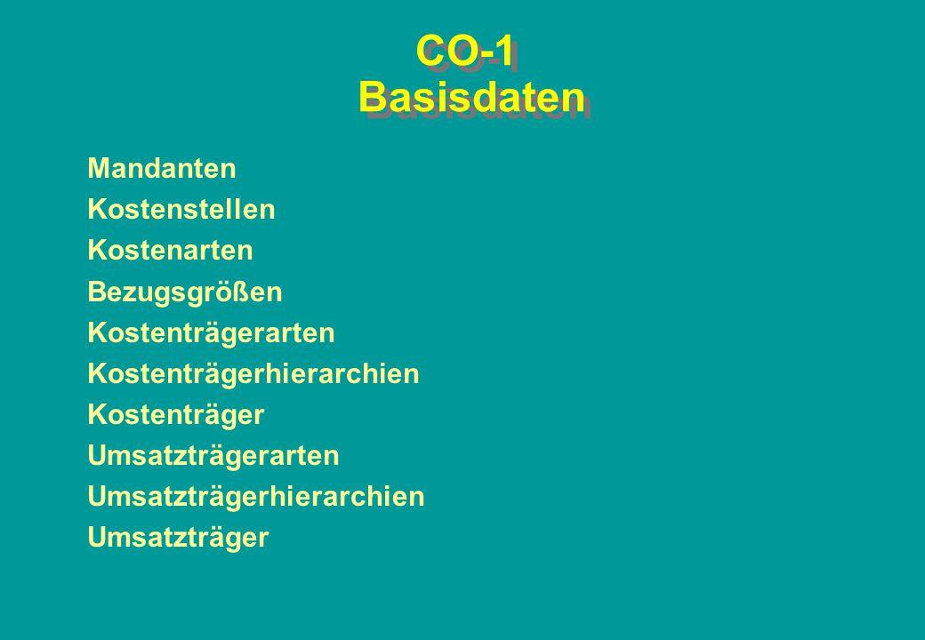 CO-1 Basisdaten Mandanten Kostenstellen Kostenarten Bezugsgrößen Kostenträgerarten Kostenträgerhierarchien Kostenträger Umsatzträgerarten Umsatzträger