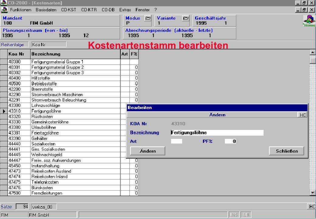 PLAN - BAB je Kostenstelle z.B. Darstellung der Primär- bzw. direkten Kosten