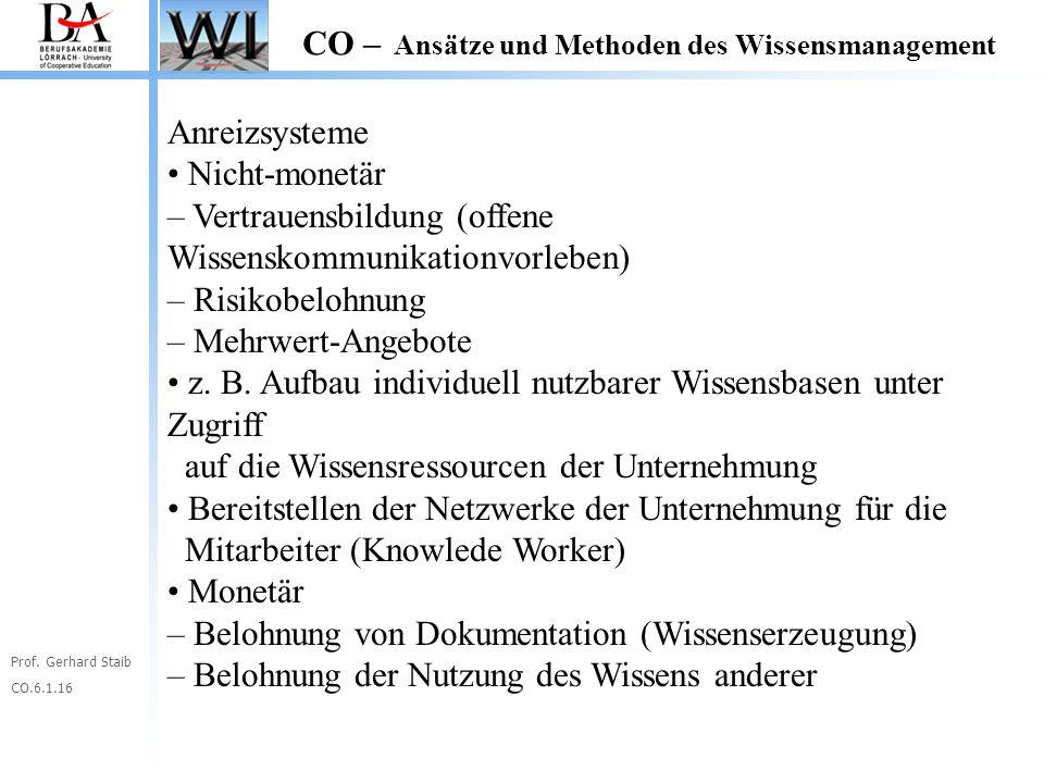 Prof. Gerhard Staib CO.6.1.16 CO – Ansätze und Methoden des Wissensmanagement Anreizsysteme Nicht-monetär – Vertrauensbildung (offene Wissenskommunika