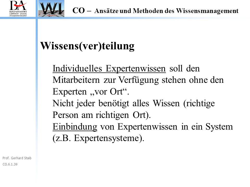 Prof. Gerhard Staib CO.6.1.39 CO – Ansätze und Methoden des Wissensmanagement Wissens(ver)teilung Individuelles Expertenwissen soll den Mitarbeitern z