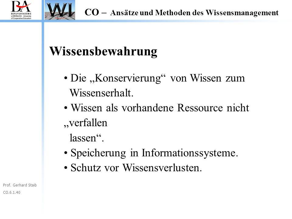 """Prof. Gerhard Staib CO.6.1.40 CO – Ansätze und Methoden des Wissensmanagement Wissensbewahrung Die """"Konservierung"""" von Wissen zum Wissenserhalt. Wisse"""