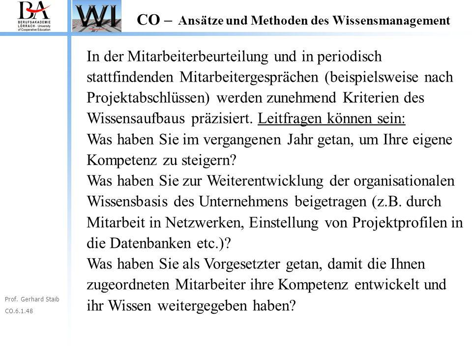 Prof. Gerhard Staib CO.6.1.48 CO – Ansätze und Methoden des Wissensmanagement In der Mitarbeiterbeurteilung und in periodisch stattfindenden Mitarbeit