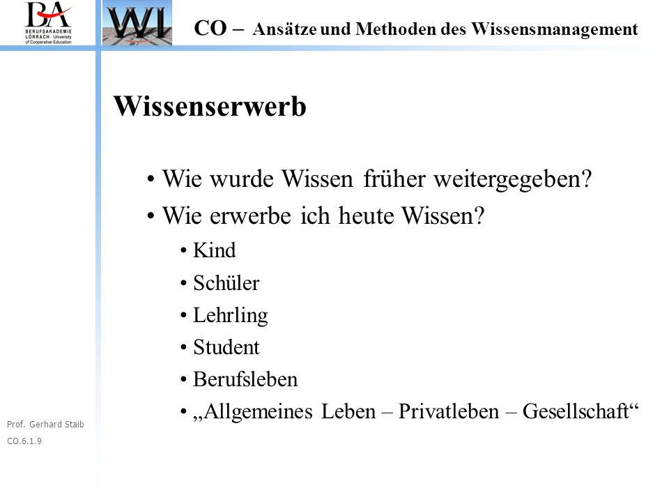 Prof. Gerhard Staib CO.6.1.9 CO – Ansätze und Methoden des Wissensmanagement Wissenserwerb Wie wurde Wissen früher weitergegeben? Wie erwerbe ich heut