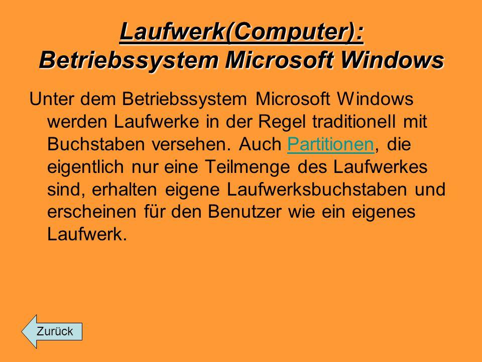 Laufwerk(Computer): Betriebssystem Microsoft Windows Unter dem Betriebssystem Microsoft Windows werden Laufwerke in der Regel traditionell mit Buchsta