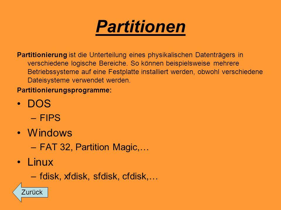 Partitionen Partitionierung ist die Unterteilung eines physikalischen Datenträgers in verschiedene logische Bereiche. So können beispielsweise mehrere
