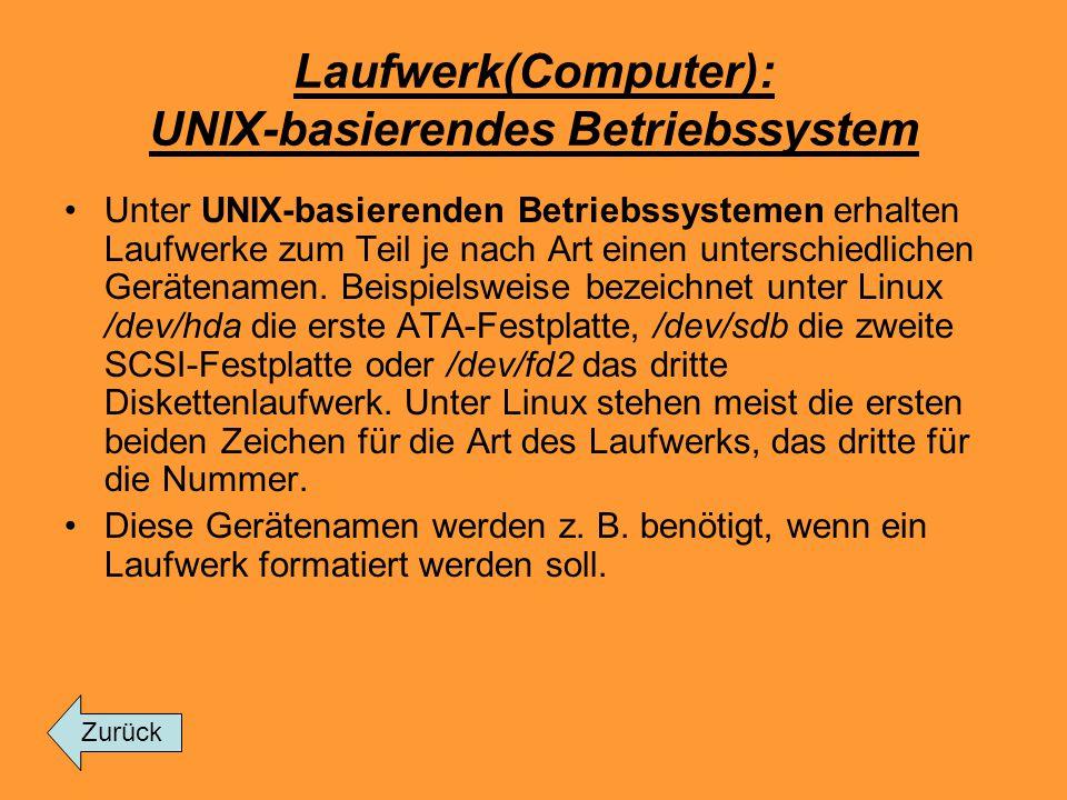 Laufwerk(Computer): UNIX-basierendes Betriebssystem Unter UNIX-basierenden Betriebssystemen erhalten Laufwerke zum Teil je nach Art einen unterschiedl