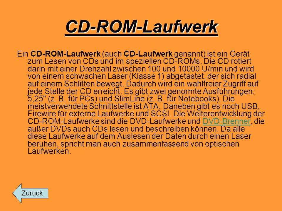 CD-ROM-Laufwerk Ein CD-ROM-Laufwerk (auch CD-Laufwerk genannt) ist ein Gerät zum Lesen von CDs und im speziellen CD-ROMs. Die CD rotiert darin mit ein