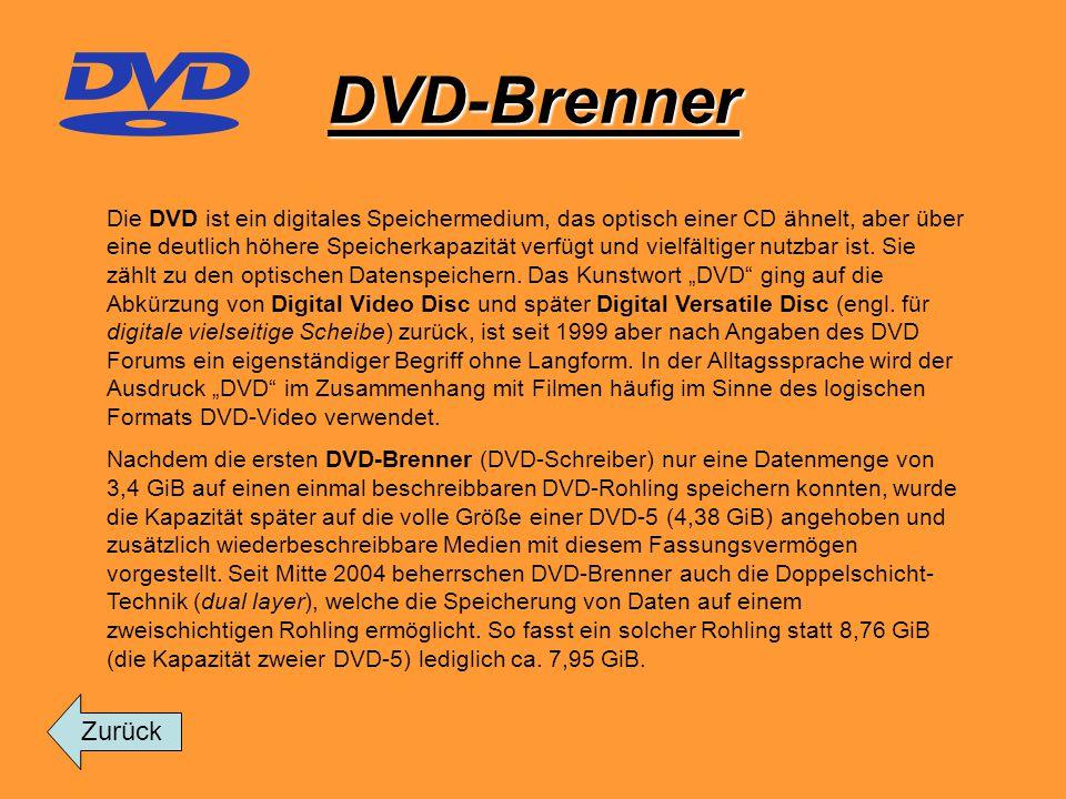 DVD-Brenner Die DVD ist ein digitales Speichermedium, das optisch einer CD ähnelt, aber über eine deutlich höhere Speicherkapazität verfügt und vielfä