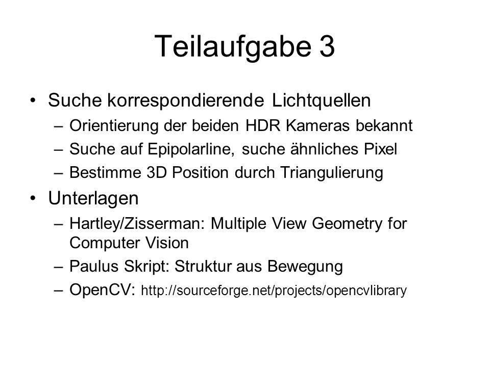Teilaufgabe 3 Suche korrespondierende Lichtquellen –Orientierung der beiden HDR Kameras bekannt –Suche auf Epipolarline, suche ähnliches Pixel –Bestim