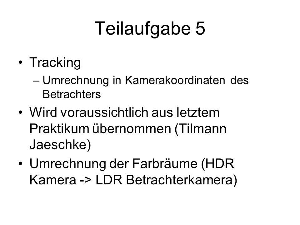Teilaufgabe 5 Tracking –Umrechnung in Kamerakoordinaten des Betrachters Wird voraussichtlich aus letztem Praktikum übernommen (Tilmann Jaeschke) Umrec