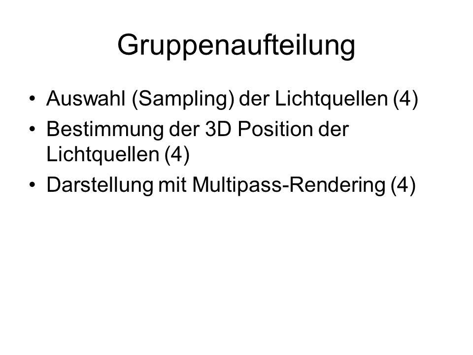 Gruppenaufteilung Auswahl (Sampling) der Lichtquellen (4) Bestimmung der 3D Position der Lichtquellen (4) Darstellung mit Multipass-Rendering (4)