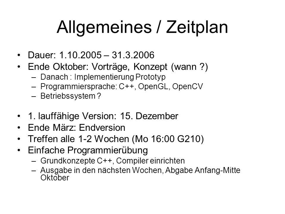 Allgemeines / Zeitplan Dauer: 1.10.2005 – 31.3.2006 Ende Oktober: Vorträge, Konzept (wann ?) –Danach : Implementierung Prototyp –Programmiersprache: C