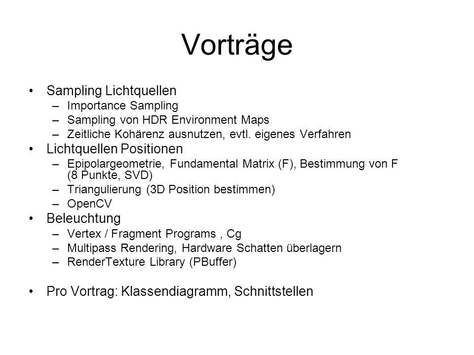 Vorträge Sampling Lichtquellen –Importance Sampling –Sampling von HDR Environment Maps –Zeitliche Kohärenz ausnutzen, evtl. eigenes Verfahren Lichtque