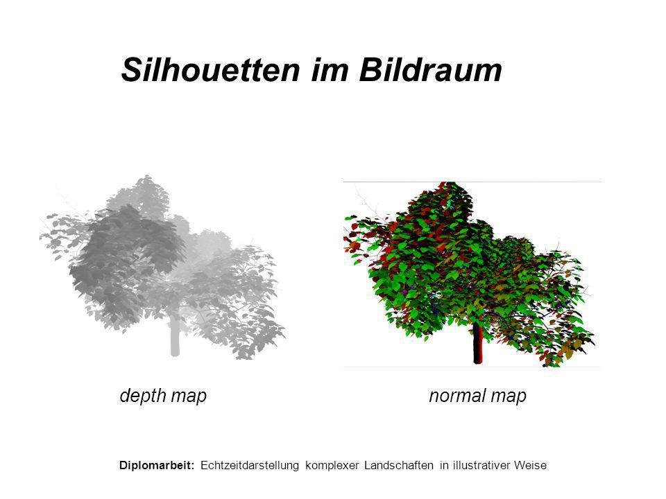 Diplomarbeit: Echtzeitdarstellung komplexer Landschaften in illustrativer Weise Silhouetten im Bildraum depth mapnormal map