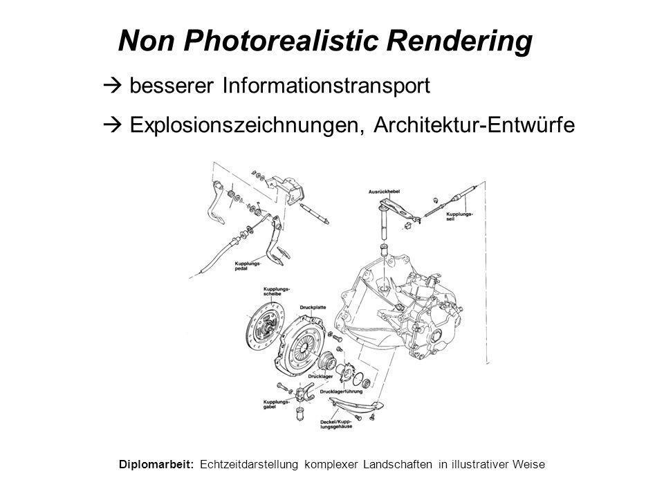 Diplomarbeit: Echtzeitdarstellung komplexer Landschaften in illustrativer Weise Non Photorealistic Rendering  besserer Informationstransport  Explos