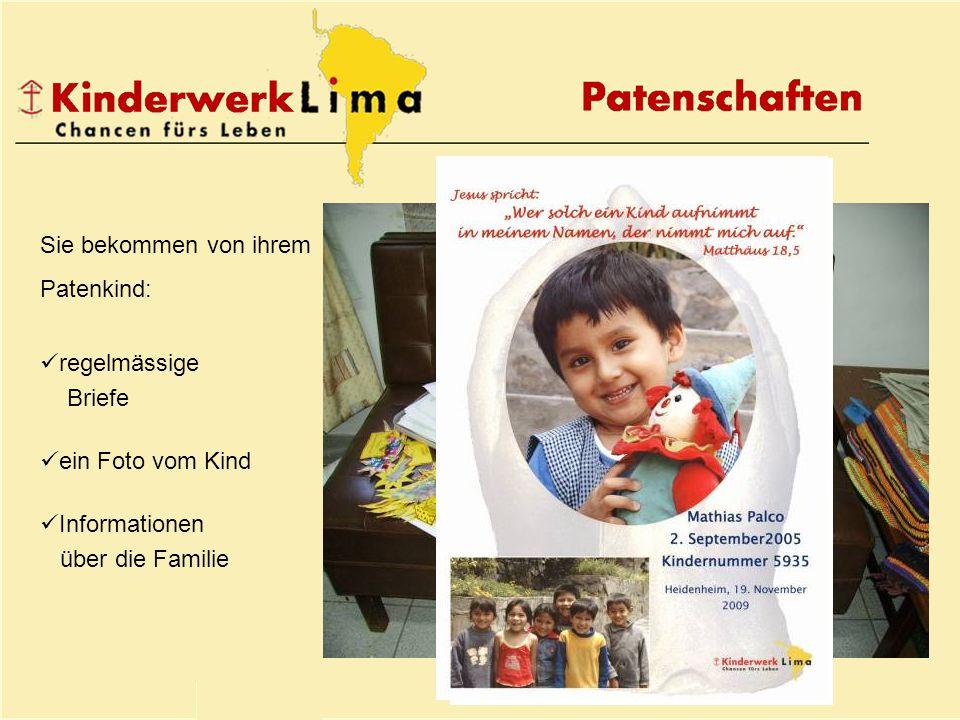 Sie bekommen von ihrem Patenkind: regelmässige Briefe ein Foto vom Kind Informationen über die Familie