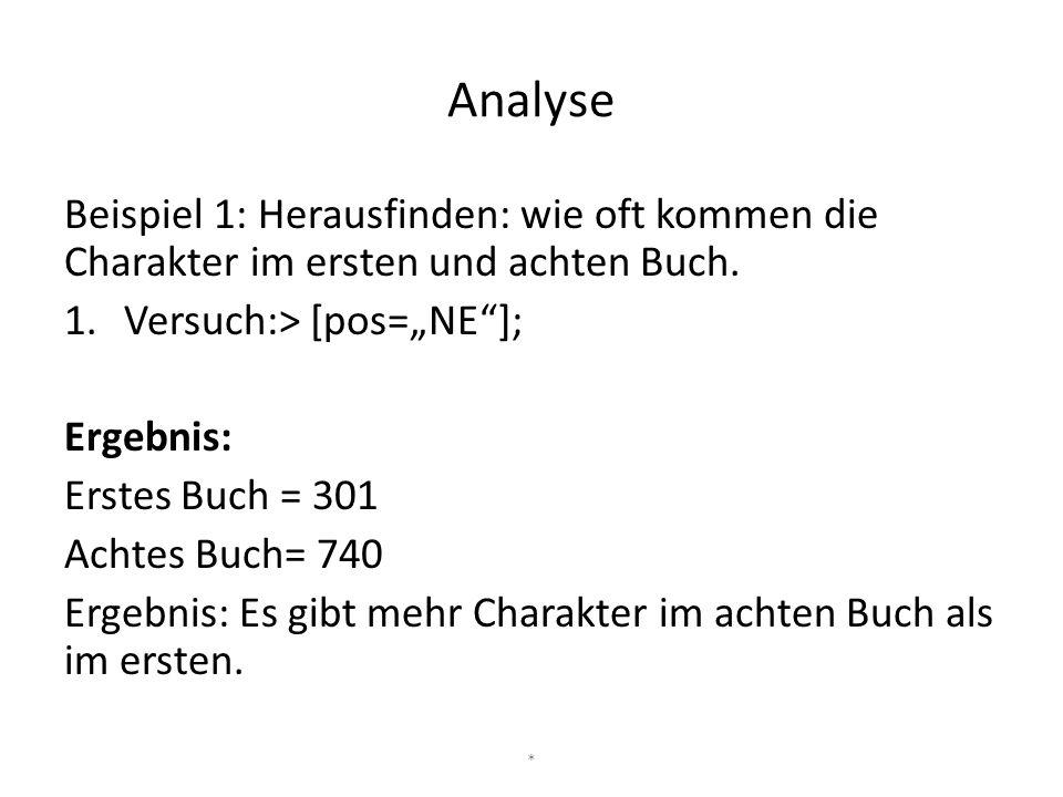"""Analyse Beispiel 1: Herausfinden: wie oft kommen die Charakter im ersten und achten Buch. 1.Versuch:> [pos=""""NE""""]; Ergebnis: Erstes Buch = 301 Achtes B"""