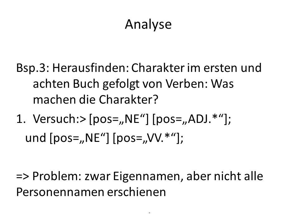 """Bsp.3: Herausfinden: Charakter im ersten und achten Buch gefolgt von Verben: Was machen die Charakter? 1.Versuch:> [pos=""""NE""""] [pos=""""ADJ.*""""]; und [pos="""