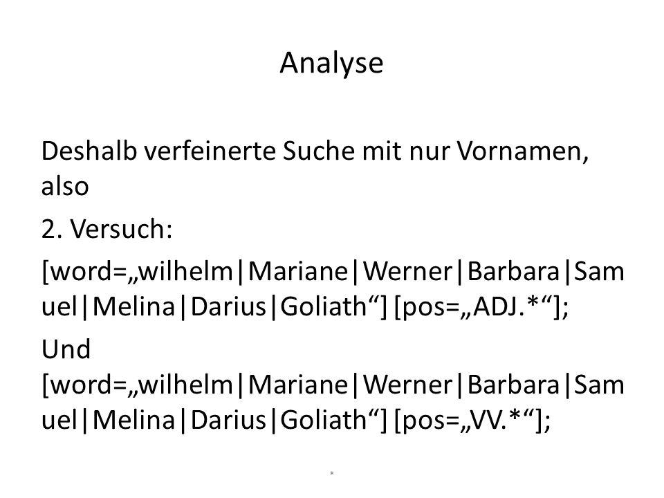 """Deshalb verfeinerte Suche mit nur Vornamen, also 2. Versuch: [word=""""wilhelm Mariane Werner Barbara Sam uel Melina Darius Goliath""""] [pos=""""ADJ.*""""]; Und"""