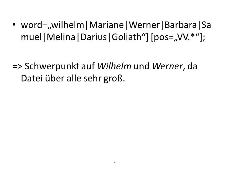 """word=""""wilhelm Mariane Werner Barbara Sa muel Melina Darius Goliath""""] [pos=""""VV.*""""]; => Schwerpunkt auf Wilhelm und Werner, da Datei über alle sehr groß"""