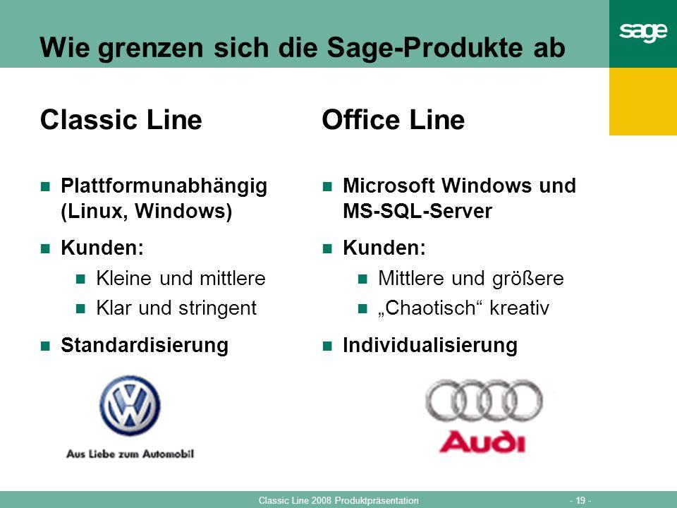 - 19 -Classic Line 2008 Produktpräsentation Wie grenzen sich die Sage-Produkte ab Classic Line Plattformunabhängig (Linux, Windows) Kunden: Kleine und