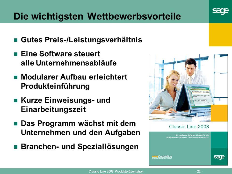 - 22 -Classic Line 2008 Produktpräsentation Die wichtigsten Wettbewerbsvorteile Gutes Preis-/Leistungsverhältnis Eine Software steuert alle Unternehme