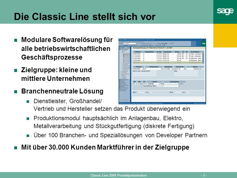 - 3 -Classic Line 2008 Produktpräsentation Die Classic Line stellt sich vor Modulare Softwarelösung für alle betriebswirtschaftlichen Geschäftsprozess